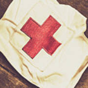Antique Nurses Hat With Red Cross Emblem Poster