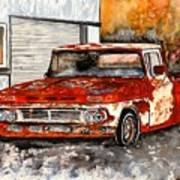 Antique Old Truck Painting Poster