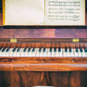 Antique Piano And Music Sheet Poster