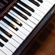 Antique Piano Keys From Above With Hardwood Floor Poster