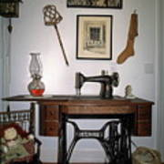 antique Singer sewing machine with treadle Poster