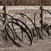 Antique Wagon Wheels I Poster by Tom Mc Nemar