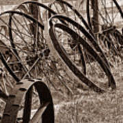 Antique Wagon Wheels II Poster