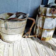 Antique Wooden Buckets Poster