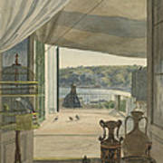 Antiquities By A Balcony Overlooking The Gulf Of Naples Poster