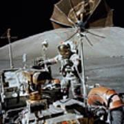 Apollo 17 Astronaut Approaches Poster