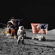 Apollo 17 Astronaut Stands Poster