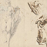Apollo And Studies Of The Artist's Own Hand [recto] Poster