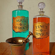 Apothecary Bottles And Brass Pestle And Mortar Poster