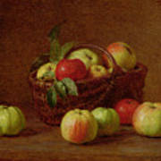 Apples In A Basket And On A Table Poster by Ignace Henri Jean Fantin-Latour