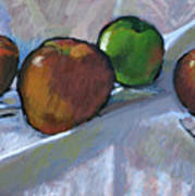 Apples On Cloth Poster