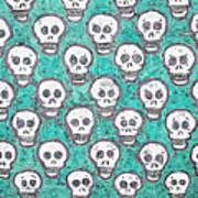 Aqua Skull Pattern Poster
