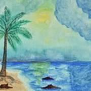 Aqua Sky Ocean Scene Poster