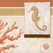 Aquarius I Coral Square Poster