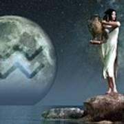 Aquarius Zodiac Symbol Poster