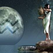 Aquarius Zodiac Symbol Poster by Daniel Eskridge
