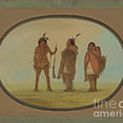 Arapaho Chief, His Wife, And A Warrior Poster