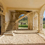 Arches, Entrance And Stairs Of Derelict Agios Georgios Church Poster