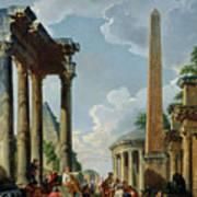 Architectural Capriccio With A Preacher In The Ruins Poster
