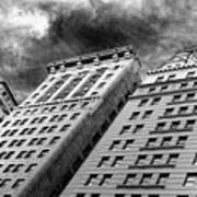Architecture Tall Buildings Bw Nyc  Poster
