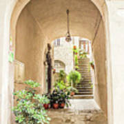 Archway And Stairs In Italy Poster