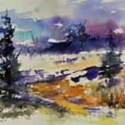 Ardennes Landscape Watercolor Poster