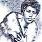 Aretha Franklin Portrait In Blue Poster