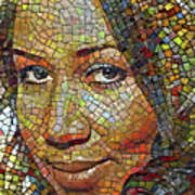 Aretha Franklin Tribute Mosaic Portrait 2 Poster