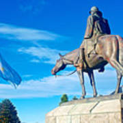 Argentinian Flag And Julio Roca-1843 To 1914-sculpture In Central Park In Bariloche-argentina  Poster