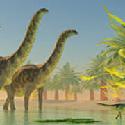 Argentinosaurus In Lake Poster