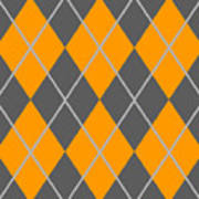 Argyle Diamond With Crisscross Lines In Pewter Gray T03-p0126 Poster
