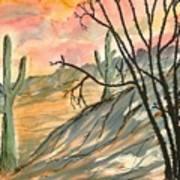 Arizona Evening Southwestern Landscape Painting Poster Print  Poster by Derek Mccrea