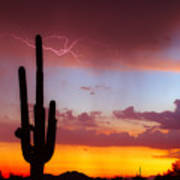 Arizona Lightning Sunset Poster