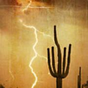 Arizona Saguaro Lightning Strike Poster Print Poster