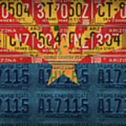 Arizona State Flag Vintage License Plate Art Poster
