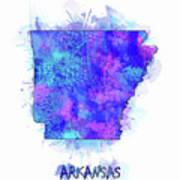 Arkansas Map Watercolor 2 Poster