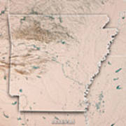 Arkansas State Usa 3d Render Topographic Map Neutral Border Poster