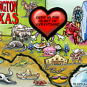 Arlington Texas Cartoon Map Poster