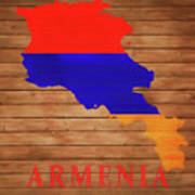 Armenia Rustic Map On Wood Poster