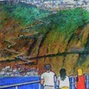 Arriving  At Thira Santorini Greece Poster