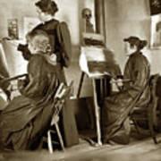 Art Class Oil Painting Teacher  And Art Students 1900 Poster