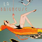 Art Deco Beach Bather Poster