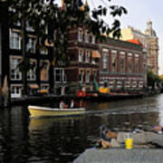 Artist On Amsterdam Canal Poster
