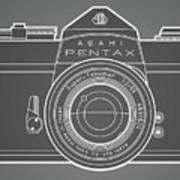 Asahi Pentax 35mm Analog Slr Camera Line Art Graphic White Outline Poster
