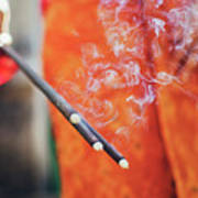 Asian Woman Holding Incense Sticks During Hindu Ceremony In Bali, Indonesia Poster