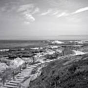 Asilomar Beach Stairway In Black And White Poster