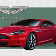 Aston Martin  D B S  V 12  With 3 D Badge  Poster