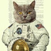 Astronaut Cat Illustration Poster