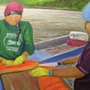 Athabaskan Women Cutting Salmon Poster by Amy Reisland-Speer
