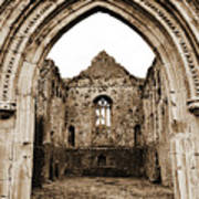 Athassel Priory Tipperary Ireland Medieval Ruins Decorative Arched Doorway Into Great Hall Sepia Poster